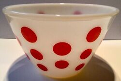 """Vintage Fire King Red Polka Dot 7.75"""" Mixing Bowl Oven Ware Usa Excellent Cond"""