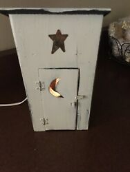 Primitive Outhouse Lamp Rustic Tabletop Light Bathroom Decor Light Up Outhouse