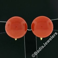 Vintage 18k Gold Gia Round Cabochon Coral Solitaire Button Screw Back Earrings