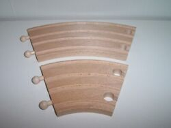 Brio Wooden 6 1/2 Long And 3 1/2 Short Double Curved Track Lot Fits Thomas Track