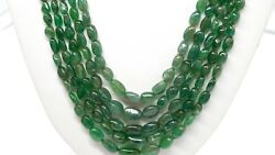 Best Quality Precious Natural Zambian Emerald Smooth Oval Nuggets Bead Necklace
