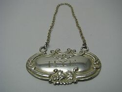 Sterling Silver Wine Label Rye Bottle Tag W/ Sterling Silver Chain Ca1950and039s