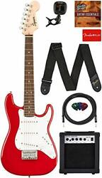 Fender Squier 3/4 Size Kids Mini Stratocaster Electric Guitar Learn Play Bundle