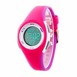 Kids Watch Boys Sports Digital Waterproof Led Watches With 7 Colour Rose Red A