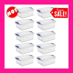 Plastic Storage Containers With Lids Latch Box Set 10 Stackable Clear Bins 15 Qt