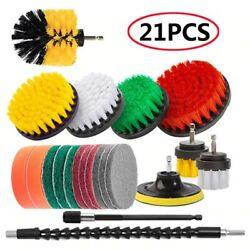Drill Brushes Set Cleaning Bathroom Wall Tile Car Polisher Grout Power Scrubber