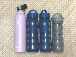 3 Lifefactoryandnbspglass Water Bottles Used And New Hydro Flask 24 Oz. Lot Of 4