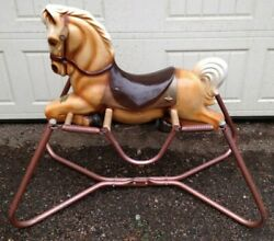 Wonder Horse 1950and039s-60and039s Spring Rocking Bouncing Childrenand039s Horse Blow Mold
