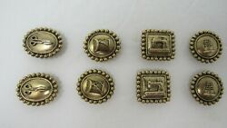 Lot Of 8 Button Covers Antique Brass Tone Sewing Machine Thimble Scissors Thread