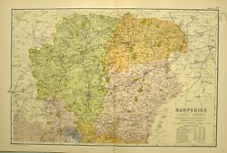 1902 Antique Map Hampshire North Sheet Winchester Andover Basingstoke