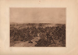 Antique Military Print 1346 Battle Of Crecy Knights Helmets Cannon