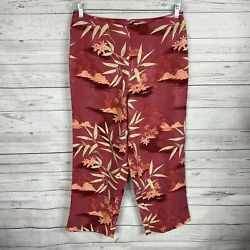 Tommy Bahama Womenandrsquos Silk Hawaiian Floral Cropped Pants Size 12 Lined Back Zip