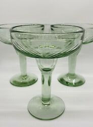 Vintage Hand Blown Light Green Etched Margarita Glasses Set Of 3 Heavy