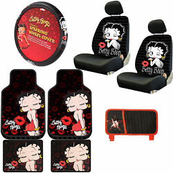 New Betty Boop Kiss Red Dress 10pc Floor Mat Seat Covers Steering Wheel Cover