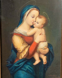 Antique 19th C. French Madonna And Child Painting Icon-j. Douillard-bouasse Lebel