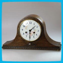 Halle Germany Wooden Brass Mantel Shelf Mechanical Wind Up Clock Chimes Floral