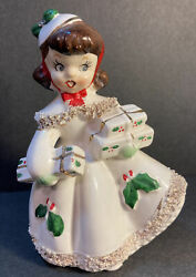 Vintage Christmas Holiday Relco Shopper Girl Figurine Japan 1950s Mid Century