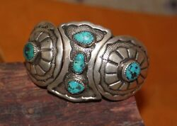 Sterling Morenci Turquoise Pyrite Cuff Bracelet Native American Old Pawn