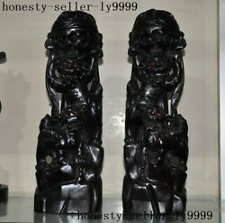 Chinese Black Rosewood Wood Carved Wealth Animal Lion Foo Dog Ball Statue A Pair