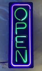 """Vintage Open Neon Vertical Sign. Made In Usa By Fallon 27"""" H X 10"""" W"""