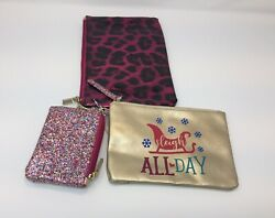 Holiday Time 3 Piece Pouch Interchangeable Wristlet Strap Gold Glitter Leopard $14.99