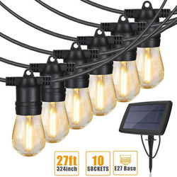 Solar Powered 27ft String Lights Led Edison Bulbs Outdoor Waterproof Auto On/off