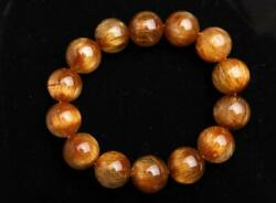 Natural Copper Rutilated Quartz Crystal Wealthy Round Beads Bracelet 17mm Aaaa