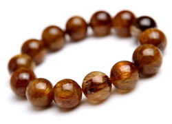 Natural Copper Rutilated Quartz Crystal Wealthy Round Beads Bracelet 16mm Aaaa