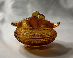 Vintage Westmoreland Glass 1960's Amber Nesting Lovebirds Covered Candy Dish