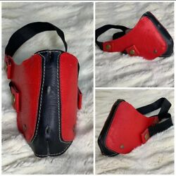 Genuine Leather Custom Made Hand Made Face Masks- Red And Black