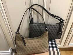 Dooney amp; Bourke Lot Of 2 Small Signature Leather amp; Fabric Shoulder Bags $45.00