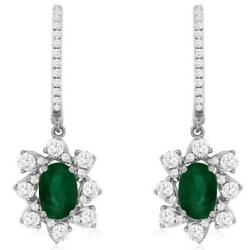 1.50ct Diamond And Aaa Emerald 14k White Gold Oval And Round Flower Hanging Earrings