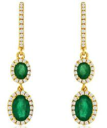 1.50ct Diamond And Aaa Emerald 14kt Yellow Gold 3d Oval Journey Hanging Earrings