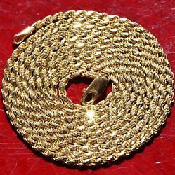 14k Yellow Gold Necklace Italian 29.5 Solid Diamond Cut Rope Chain 10.6g N3018d