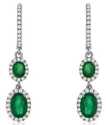 Estate 1.50ct Diamond And Aaa Emerald 14k White Gold Oval And Round Hanging Earrings