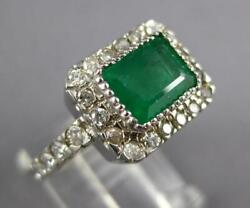 2.42ct Diamond And Aaa Emerald 14kt White Gold 3d Bezel Filigree Engagement Ring