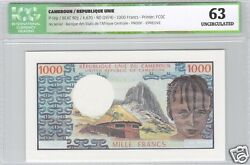 Cameroon Epreuve Proof Of 1 000 Francs Nd1974 Very Rare