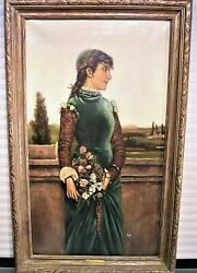 Antique 19th Century English Oil Painting Young Woman
