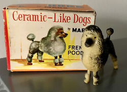 Vintage Louis Marx And Co Toys 60's Ceramic-like Dogs French Poodle Original Box