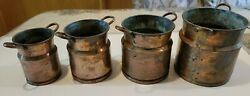 Antique Vintage Copper Coated Set Of 4 Milk Canister Containers Hand Hammered