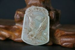 Chinese Antiques Qing Dynasty Green Jadeite Jade Eagle Pendant Figurines