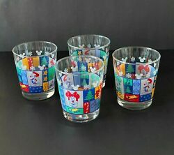 Four Disney Anchor Hocking Drinking Juice Glasses Christmas Mickey Mouse Minnie