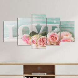 5pcs set Wall Art Hanging Picture Romantic LOVE Rose Canvas Painting Room Decor