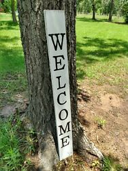 Large Wood Porch Sign Welcome Front Door Black And White Farmhouse 48 Tall 4 Ft