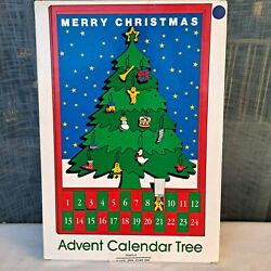 Dept 56 Merry Christmas Wooden Advent Calendar Tree W/ Ornaments Complete In Box