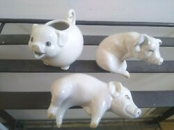 Fitz And Floyd Collectible Porcelain Pigs Creamer Salt/pepper Shakers Figurines