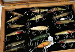 Framed Collection 16 Vintage Creek Chub Fishing Lures In Oak Case