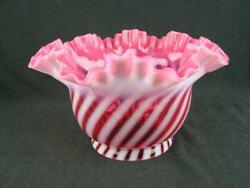 Stunning Vintage Cranberry And Opalescent Swirl Glass Oil Lamp Shade, By Fenton