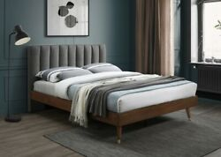 1p Queen Size Bed Bedroom Furniture Soft Grey Color Fabric Wood Legs W/gold Caps