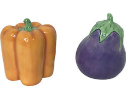 Clay Art Vegetable Shaped Salt And Pepper Shakers Pepper And Eggplant